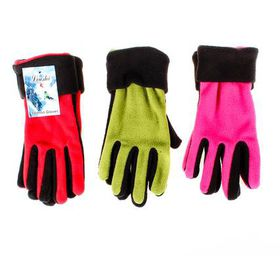 Bulk Pack 5 X Ladies Fleece Gloves 2-Tone Assorted 21.5cm