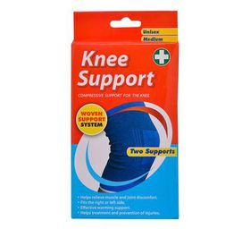 Bulk Pack 5 X Health Glow Elasticised Knee Support 2 Piece Pack (1 Size Fits All)