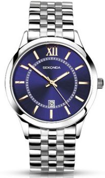 Sekonda Mens Watch with Blue Dial with Rose Gold Coloured Batons & Stainless Steel Bracelet