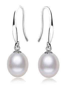 Natural Freshwater Pearl Earrings  - White