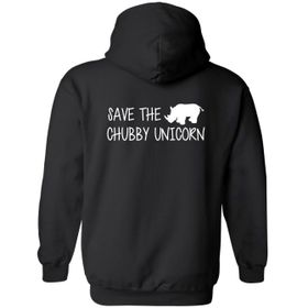 Save The Chubby Unicorn Black Hoodie - Back Print