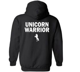 Unicorn Warrior Black Hoodie - Back Print