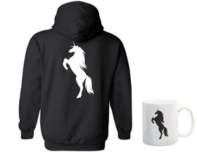 Unicorn Silhouette Black Hoodie - Back Print And Mug Combo