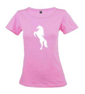 Unicorn Silhouette Pink Ladies T-Shirt