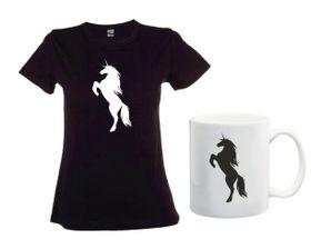 Unicorn Silhouette Black T-Shirt And Mug Combo