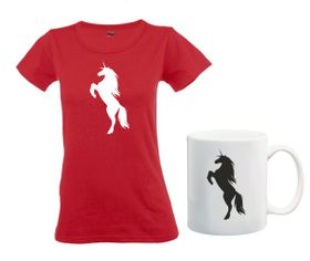Unicorn Silhouette Red T-Shirt And Mug Combo