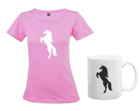 Unicorn Silhouette Pink T-Shirt And Mug Combo