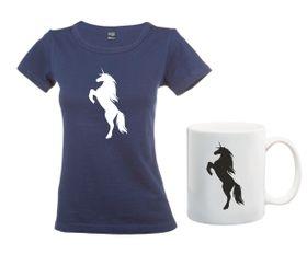 Unicorn Silhouette Navy T-Shirt And Mug Combo