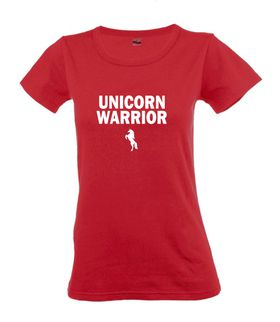 Unicorn Warrior Red Ladies T-Shirt