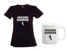 Unicorn Warrior Black T-Shirt And Mug Combo