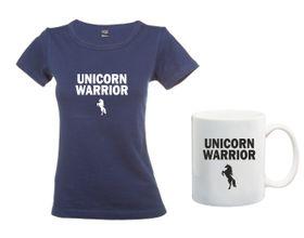 Unicorn Warrior Navy T-Shirt And Mug Combo