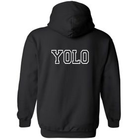 YOLO Black Hoodie Front Pocket Back Print