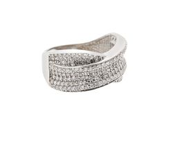 925 Sterling Silver Pave Set Cubic Zirconia Ladies Dress Ring