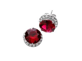 925 Sterling Silver Stud Earrings with 9mm Ruby Coloured Centre