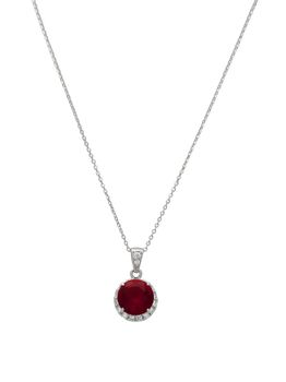 925 Sterling Silver Pendant With A 9mm Ruby Coloured Centre