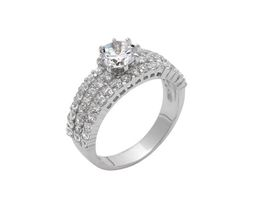 925 Sterling Silver Ladies Dress Ring Set Cubic Zirconia (Size: M)