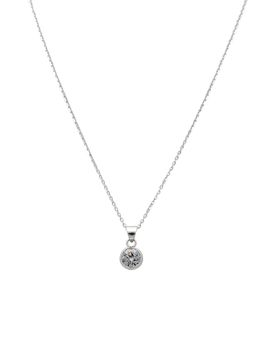 925 Sterling Silver 6mm Tube Cubic Zirconia Solitaire Pendant Set