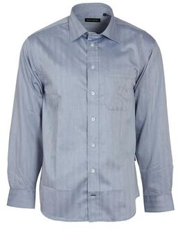 Swagg Mens Long Sleeve Harringbone Shirt - Midnight Blue (Size: X-Large)