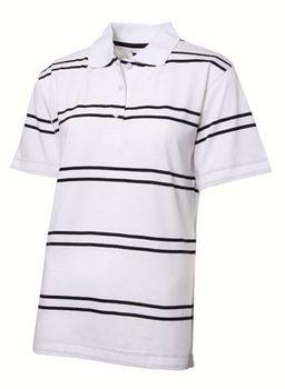 Swagg Ladies Stripe Mercerized Golfer - White (Size: Small)