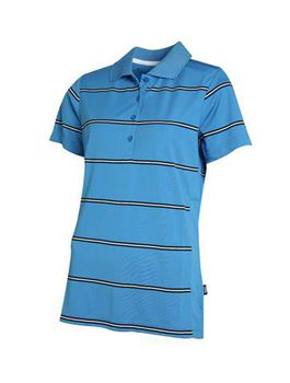 Swagg Ladies Stripe Technical Golfer - Bright Blue
