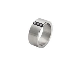 Stainless Steel 9mm Men's Flat Wedding Band With 3x 0,10ct Black Diamond