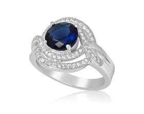 2.31 ctw Sapphire Blue CubicZirconia 925 Sterling Silver Engagement Ring