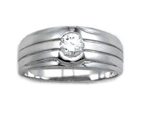 0.50 ctw CZ 925 Sterling Silver Wedding Ring with Half Matte/half Shiny Finish