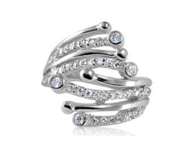 0.75 ctw Cubic Zirconia 925 Sterling Silver Cocktail Dress Ring
