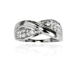 0.27 ctw Cubic Zirconia 925 Sterling Silver Cross Over Style Wedding Band