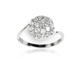 0.57 ctw Cubic Zirconia 925 Sterling Silver Cluster Set Cocktail Ring