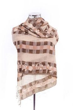 Latiant Woven & Embroided Brown Scarf