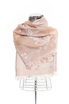 Latiant Light Brown Flower Scarf