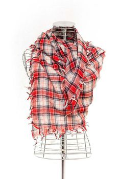 Latiant Red & White Check Scarf