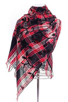 Latiant Red & Black Check With Embroidery Scarf