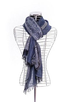 Latiant Blue Boarded Print Scarf
