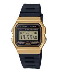 873534278a1 Casio Men s F-91WM-9ADF Digital Watch - Black and Gold