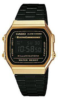 Casio Men's A168WEGB-1BDF Retro Digital Watch - Black