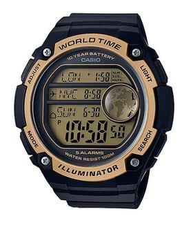 Casio Men's AE-3000W-9AVDF World Time Digital Watch - Gold and Black