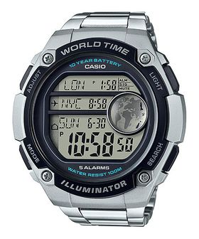 Casio Men's AE-3000WD-1AVDF World Time Digital Watch - Silver and Black