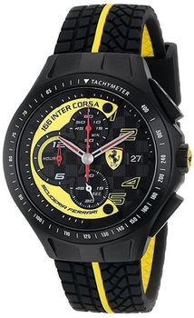 Ferrari Men's 0830078 Race Day Black & Yellow Watch with Textured Rubber Strap (Parallel Import)