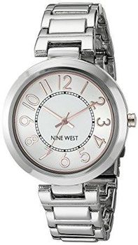Nine West Women's NW/1893SVRT Easy to Read Silver-Tone Bracelet Watch (Parallel Import)