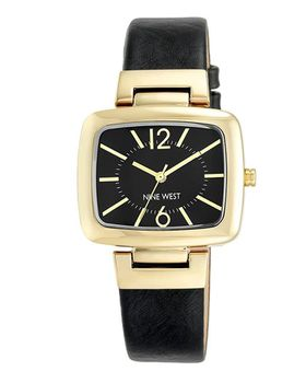 Nine West Women's NW/1840BKBK Gold-Tone & Black Strap Watch (Parallel Import)