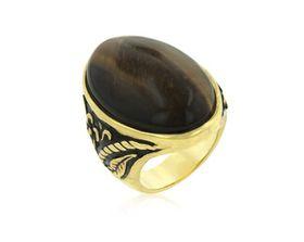 Polished Tiger's Eye & Floral Design Gold Plated Costume Dress Ring