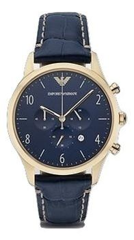 Emporio Armani AR1862 Men's Blue Dial Analogue Quartz Watch with Leather Strap (parallel import)