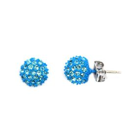 Bella Bella Blue Glitter Ball Stud (TBE173)