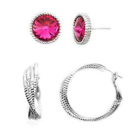 Bella Bella Cerise Pink Crystal Stud Set (TBS027)