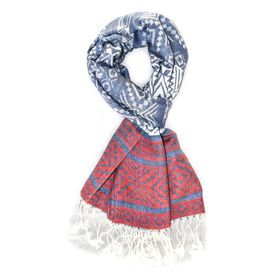 Lily & Rose Blue & Red Colour Detailed Scarf