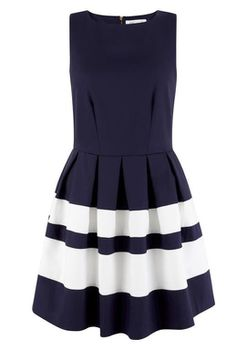 Closet London - Navy Sleeveless Contrast Stripe Band Dress
