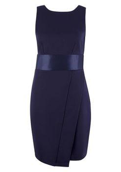 Closet London - Navy Sleeveless Waistband Bow Tie Back Dress