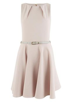 Closet London - Nude Skater Belted Dress